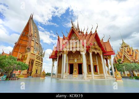 Wat Tham Sua is the most beautiful temple in Kanchanaburi, Thailand - Stock Photo