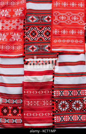 Linen Towels With Belorussian Ethnic National Folks Ornament On Clothes. Slavic Traditional Pattern Ornament Embroidery. - Stock Photo