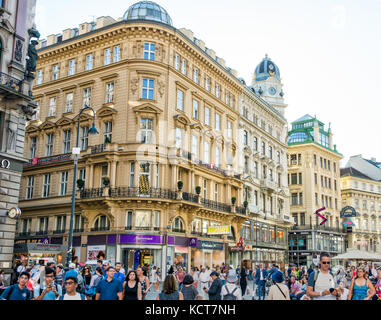 VIENNA, AUSTRIA - AUGUST 30: People in the pedestrian area of the historic city center of  Vienna, Austria on August - Stock Photo