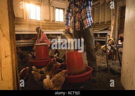 Farmer feeding the hens in chicken house - Stock Photo