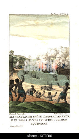 Massacre of French officers de Langle, Lamanon and 10 sailors by natives of the New Hebrides (Vanuatu). Illustration - Stock Photo
