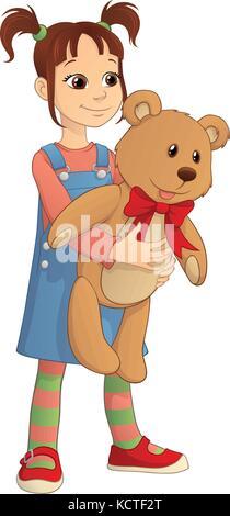 Vector cartoon of a cute girl holding a big Teddy bear - Stock Photo