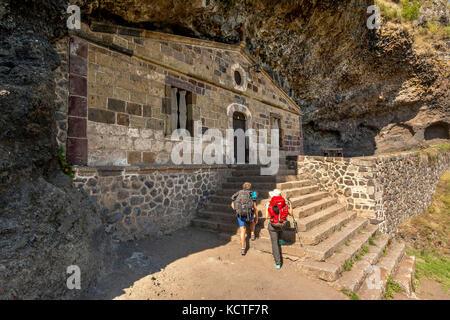 Monistrol d'Allier. The Chapel of Saint Madeleine on Via Podiensis. Camino de Santiago. Pilgrimage way. Haute Loire. - Stock Photo