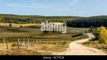Le Sauvage gite on Via Podiensis. Camino de Santiago. Pilgrimage way. Haute Loire. Auvergne. France - Stock Photo