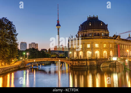 Bode-Museum, Television Tower and Spree river in Berlin before sunrise - Stock Photo