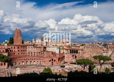 Imperial Fora ruins (Augustus and Trajan Forum) view from above with ancient monuments in the historic center of Rome Stock Photo