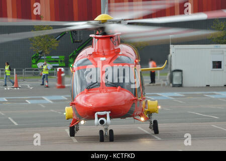 Helicopters attending the Helitech 2017 trade show held at London ExCel exhibition centre - Stock Photo