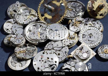 broken mechanical watches background - Stock Photo