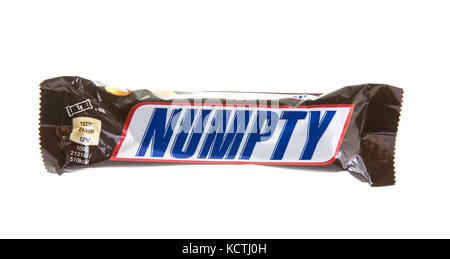 SWINDON, UK - OCTOBER 6, 2017: Snickers  NUMPTY chocolate  bar on a white background - Stock Photo