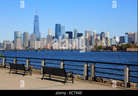The view of the skyline of Lower Manhattan Financial District with Freedom Tower from Liberty State Park.Jersey - Stock Photo