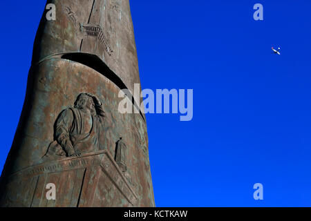 A closed up view of Monument of Columbus in Liberty State Park. Jersey City.New Jersey.USA - Stock Photo