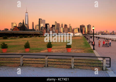 The view of Lower Manhattan skyline from Liberty State Park,Jersey City,New Jersey,USA - Stock Photo