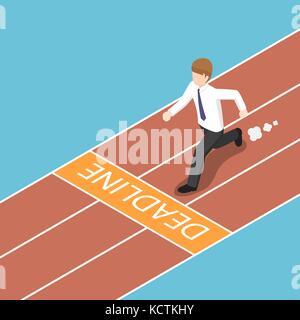 Flat 3d isometric businessman trying to run across the deadline. Deadline concept. - Stock Photo