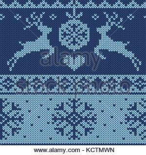 Christmas pattern with jumping deer, snowflakes and christmas decoration. Endless design in knitted optics. - Stock Photo