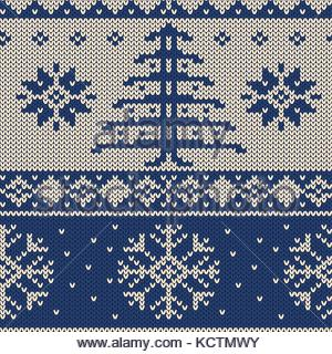 Christmas pattern with Christmas tree and snowflakes. Endless design in knitted look. - Stock Photo