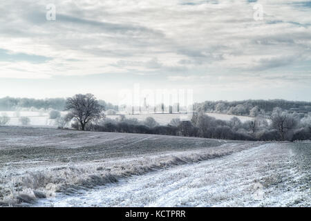 Fields covered in hoar frost in rural Cambridgeshire, UK - Stock Photo