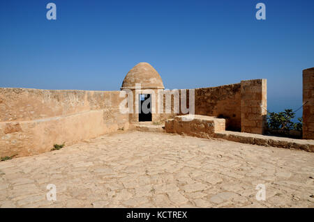 A corner defensive turret and lookout post in the Fortezza (Fortress) at Rethymno, northern Crete. The fort dates - Stock Photo