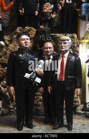 Neapolitan artist Marco Ferrigno has made world leader nativity figurines at his shop in via San Gregorio Armeno, - Stock Photo