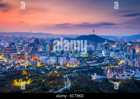 Seoul. Cityscape image of Seoul downtown during summer sunrise. - Stock Photo