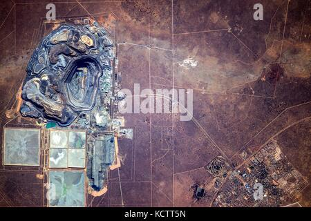 View from the International Space Station of the massive Jwaneng diamond mine in Botswana from Earth Orbit. - Stock Photo