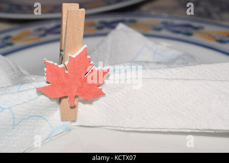 close up of a placeholder in the form of a canadian flag - Stock Photo