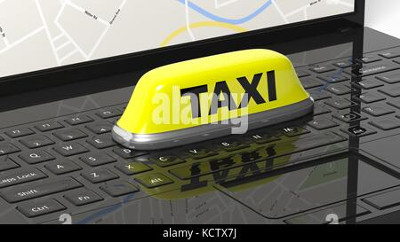 Yellow taxi car roof sign on black laptop keyboard - Stock Photo