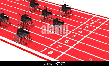 Wheelchairs on red running track isolated on white - Stock Photo