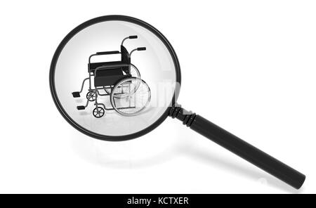 Black disability wheelchair under magnifier isolated on white - Stock Photo
