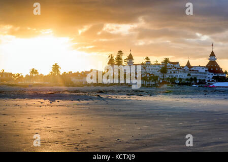 Sunrise at Coronado Central Beach with a view of the Hotel Del Coronado. Coronado, California, USA. - Stock Photo