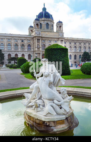 Vienna, Austria - fountain in front of the natural history Museum in the old town. - Stock Photo