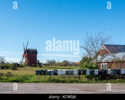 Traditional windmill on Swedish island Oland in the Baltic Sea. Windmills are a common sight on Oland. - Stock Photo