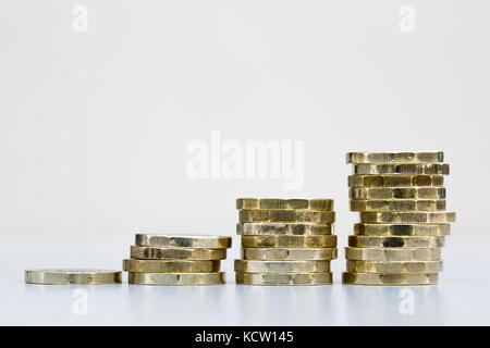 Pile of British money pounds sterling new one pound coins cash GBP in four piles. Save grow savings growing investments - Stock Photo