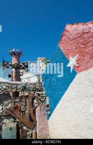 Public artworks at a centre for Afro Cuban and Santeria hertige, Callejon de Hamel, Centro, Havana, Cuba - Stock Photo