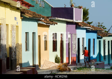 Colorful house fronts, Trinidad,  Cuba - Stock Photo