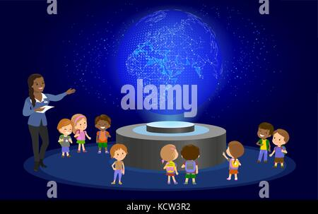 Innovation education elementary school learning technology and people concept - group of kids looking to earth. - Stock Photo