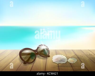 Sunny beach mock up. Wooden board plank table floor. Sunglasses sea ocean blue sky waves vacation paradise tropical - Stock Photo