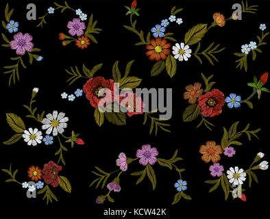Embroidery colorful floral pattern with dog roses and forget me not flowers. Vector traditional folk fashion ornament - Stock Photo