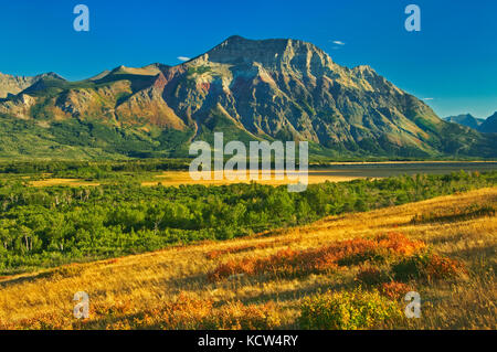 Vimy Ridge. Canadian Rocky Mountains. Vimy Peak is the front range mountain standing east of the townsite in Waterton - Stock Photo