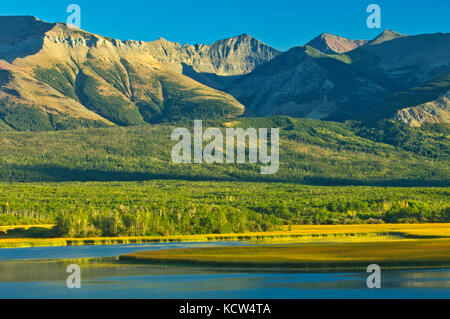 Sofa Mountain overlooking Lower Waterton Lake, Waterton Lakes  National Park, Alberta, Canada - Stock Photo
