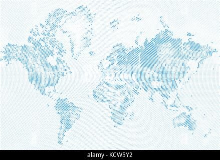 Abstract Dotted Map Blue and White Halftone grunge Effect Illustration. World map silhouettes. Continental shapes - Stock Photo