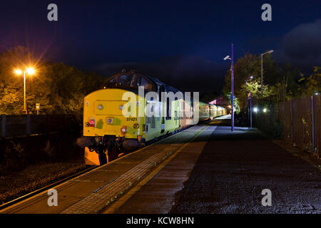 The network rail plain line recognition train at Windermere after the passenger service has finished for the day,hauled - Stock Photo