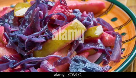 Braised Red Cabbage With Cider And Apples. close up - Stock Photo