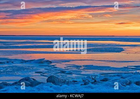 Sunset on Lake Winnipeg at Hillside Beach, , Manitoba, Canada - Stock Photo