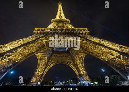 View of the Eiffel Tower from below, Paris, France, Europe - Stock Photo