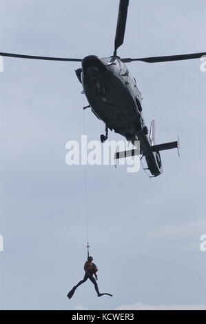 French Navy helicopere 'Dolphin' and Navy divers take part in a public show, Lyon, France - Stock Photo