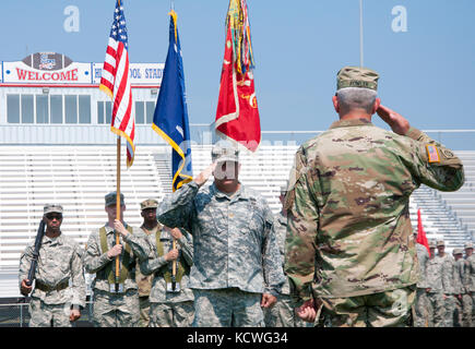 U.S. Army Maj. Christopher Moyer, the executive officer for the 122nd Engineer Battalion, S.C. Army National Guard, - Stock Photo