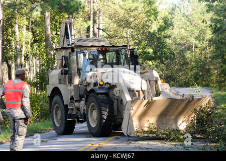 Soldiers from the 122nd Engineer Battalion, South Carolina National Guard, clear debris from a roadway near Mcclellanville, - Stock Photo