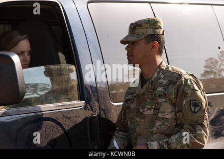 U.S. Army Pfc. Mykel Brown, a military police team member from the South Carolina Army National Guard 132nd Military - Stock Photo