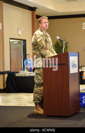 U.S Army Capt. John Denny, a chaplain assigned to the South Carolina National Guard gives the Invocation during - Stock Photo