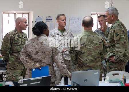 U.S. Army Lt. Col. Jamie Fowler, South Carolina Army National Guard, 122nd Engineer Battalion commander, discusses - Stock Photo